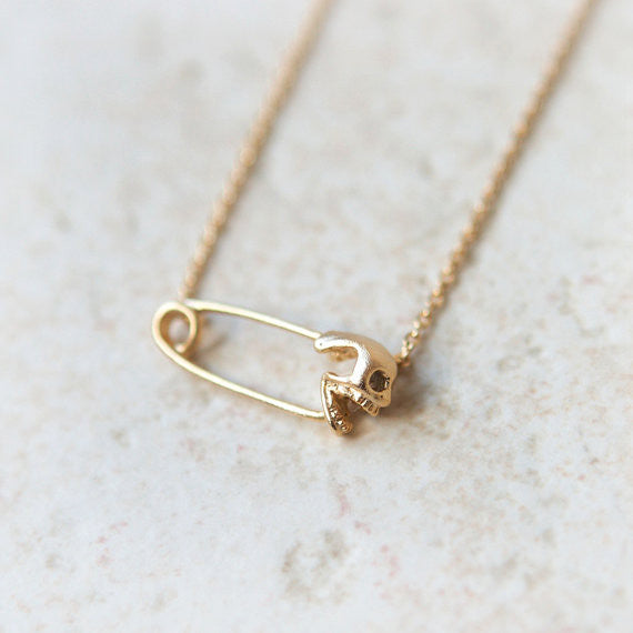 Safety Pin with Skull necklace
