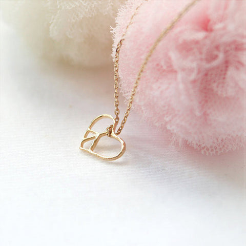Tiny heart and Love You Bracelet in gold