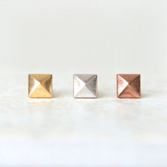 Tiny Square Pyramid earrings