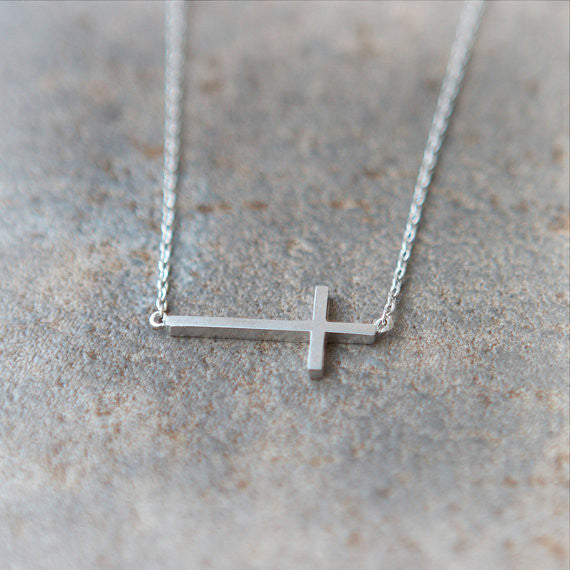 Sideways Cross Necklace in silver