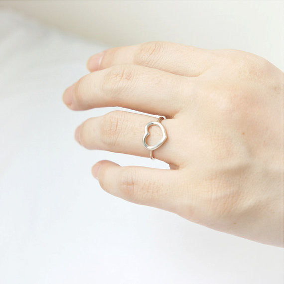 Open Heart Ring in sterling silver