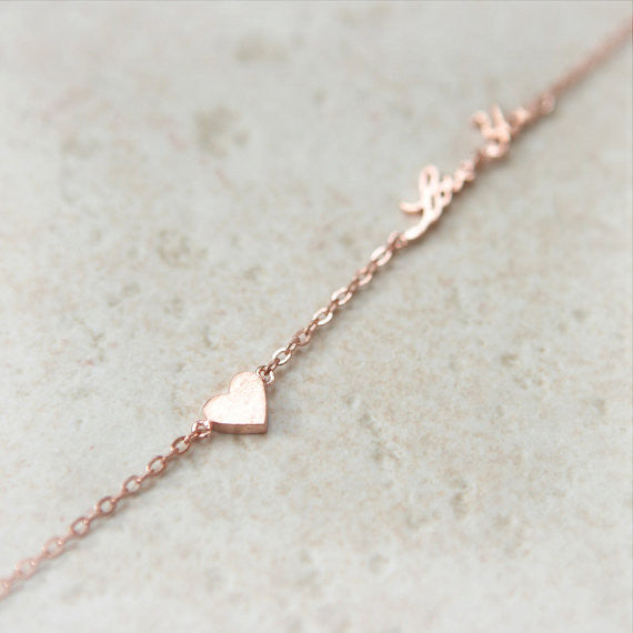 Tiny heart and Love You Bracelet in pink gold