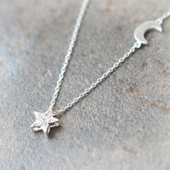 Shiny Star and Moon Necklace in silver