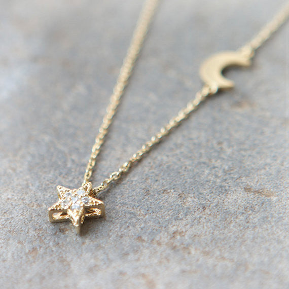 Shiny Star and Moon Necklace in gold