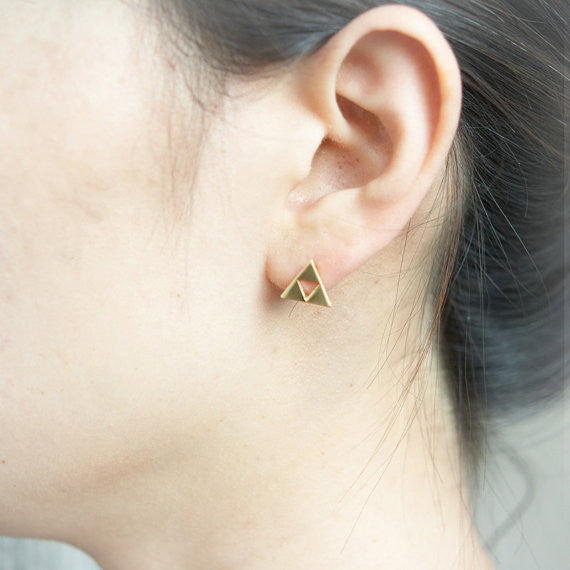 Tri Force Earrings in gold