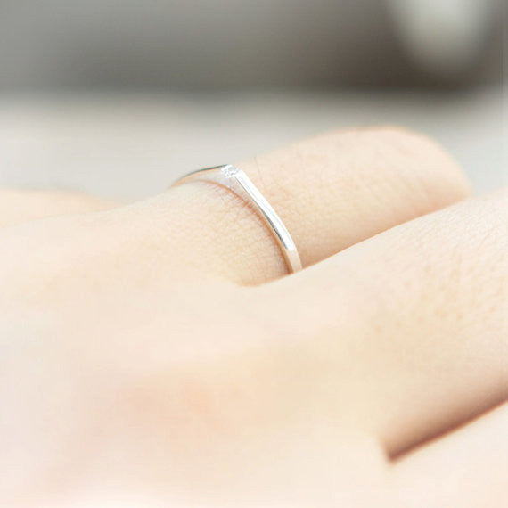 Tear and Crystal ring in sterling silver