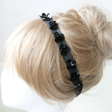 Black Sequins Beaded Flower Headband