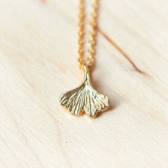 Tiny Ginkgo leaf necklace