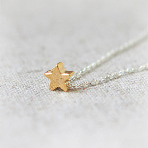 Tiny Open Crescent Moon and Star Necklace