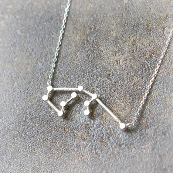 Aquarius Zodiac Sign Necklace in sterling silver