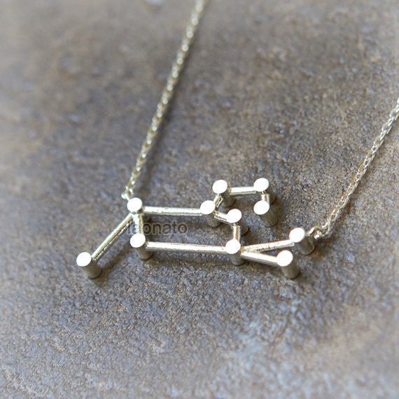 Leo Zodiac Sign Necklace in sterling silver