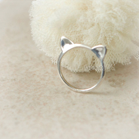 Cat ring in sterling silver