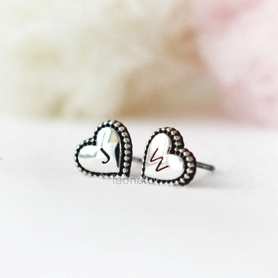 Initial Heart Earrings