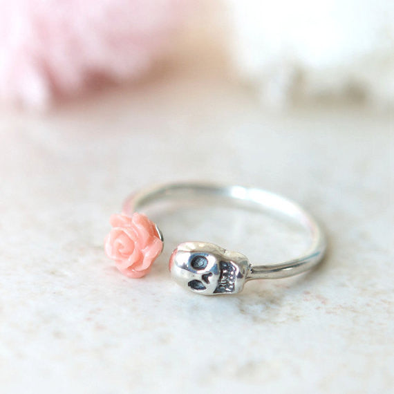 Pink Rose and Skull ring in sterling silver