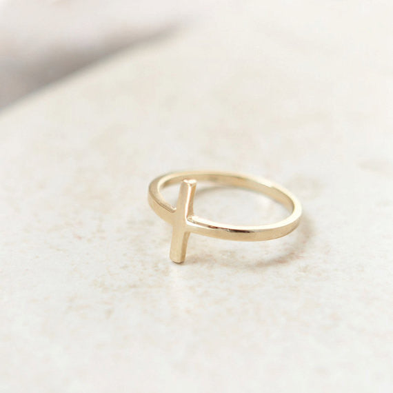 Sideways Cross Ring in gold plated sterling silver
