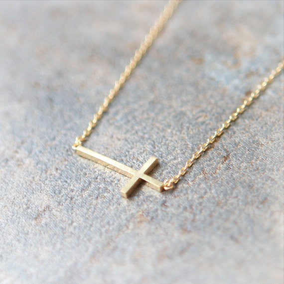 Sideways Cross Necklace in gold