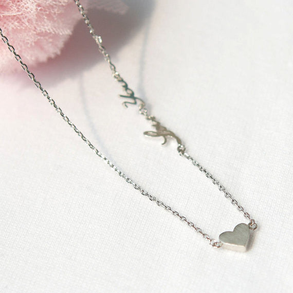 Tiny heart and Love You Necklace in silver