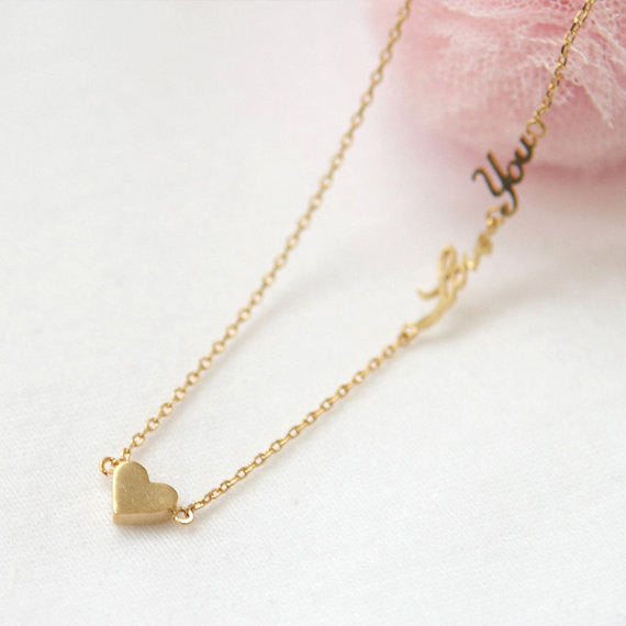 Tiny heart and Love You Necklace in gold