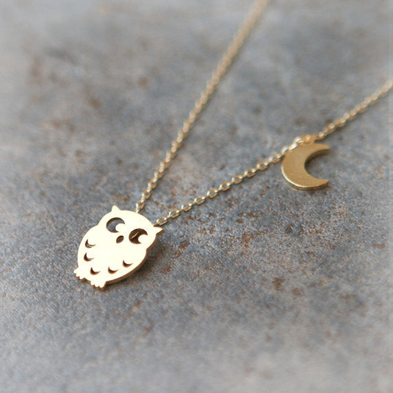 Owl and Moon Necklace in gold