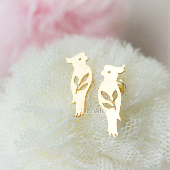 Parrot and Leaves Earrings
