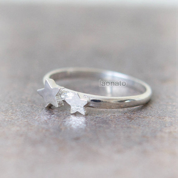 Double Stars Ring in sterling silver
