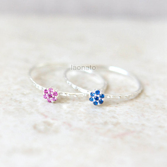 Round Flower CZ Ring in sterling silver