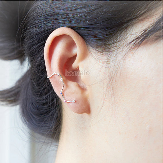 Big Dipper ear cuff earring in sterling silver