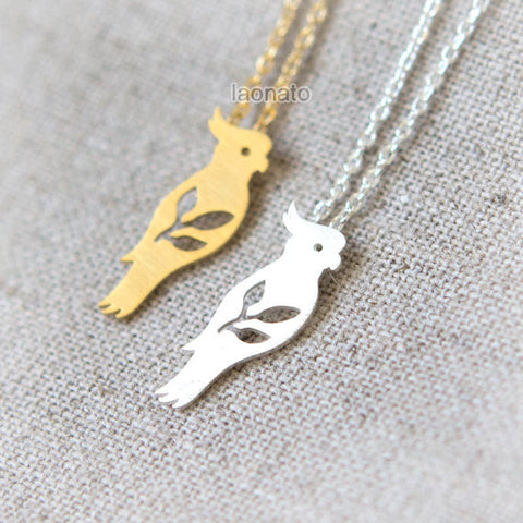 Owl and Moon Necklace in silver