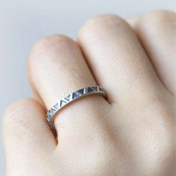 Tribal Triangle ring in sterling silver