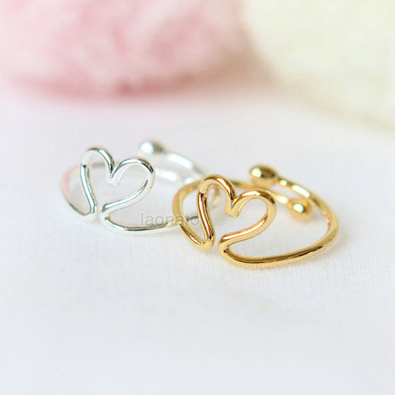 Wire Heart Knuckle Ring