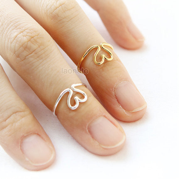 Open Heart Wire Knuckle ring
