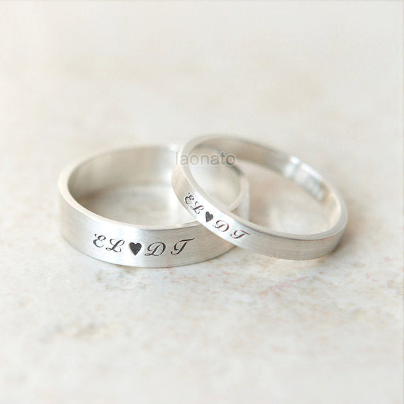 Heart and Initials engraved ring in sterling silver, Couple Rings