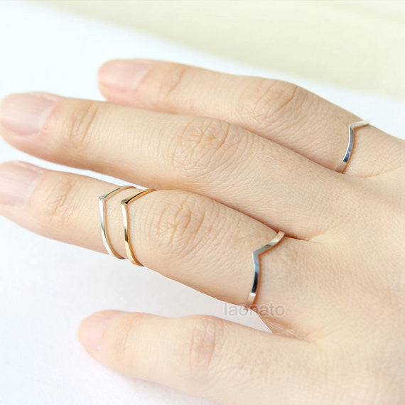 Skinny Chevron Ring in sterling silver