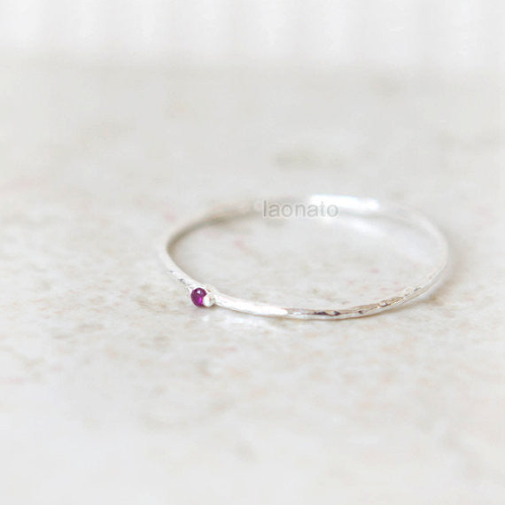 Sterling silver Skinny ring with tiny CZ
