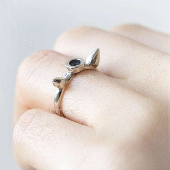 Spike and Nut ring in sterling silver