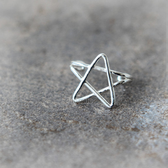 Simple Star Ear Cuff in sterling silver