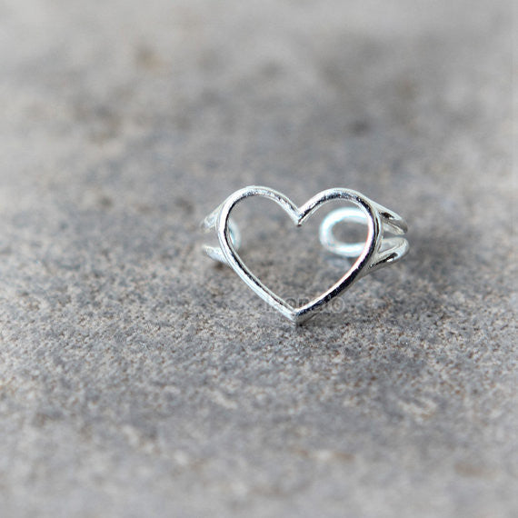 Simple Heart Ear Cuff in sterling silver