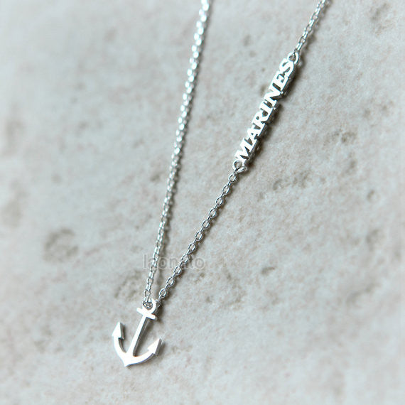 Anchor and Marines necklace
