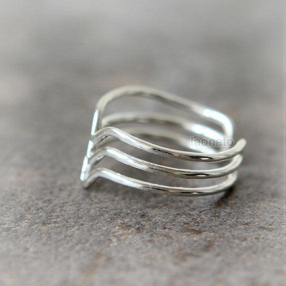 Triple line Chevron Ring in sterling silver