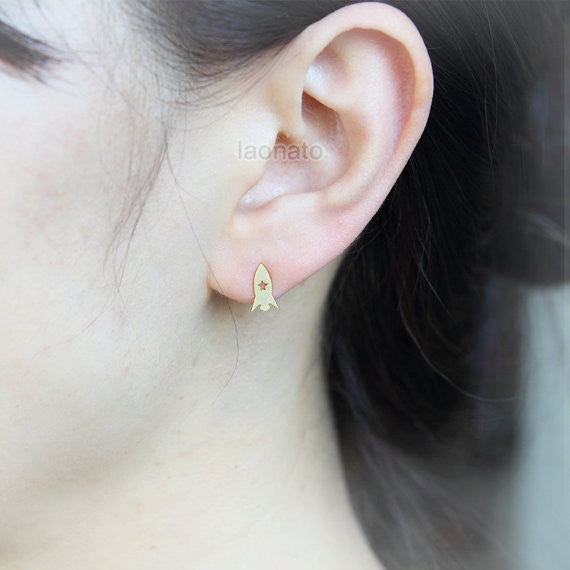 Planet and Rocket Earrings