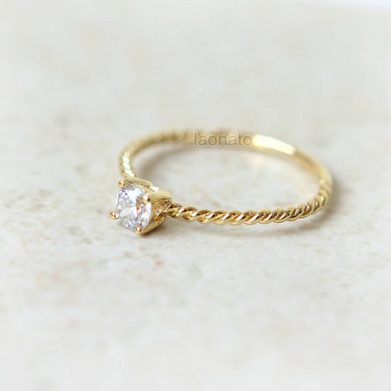 CZ twisted ring in gold plated sterling silver