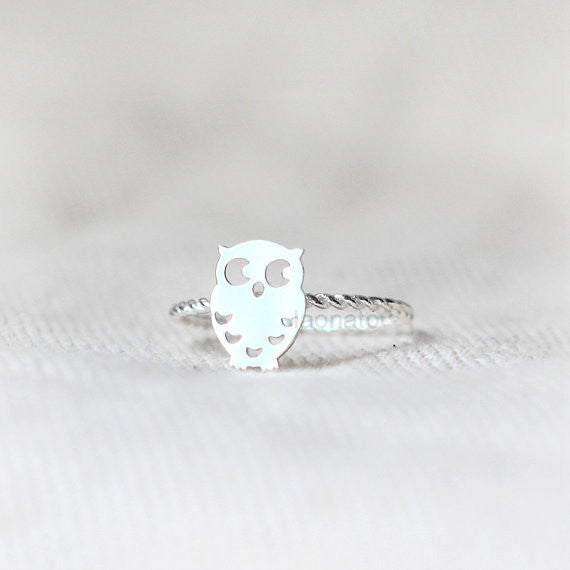 925 Sterling silver Cute Owl  Ring