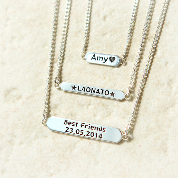 Customized name bar necklace