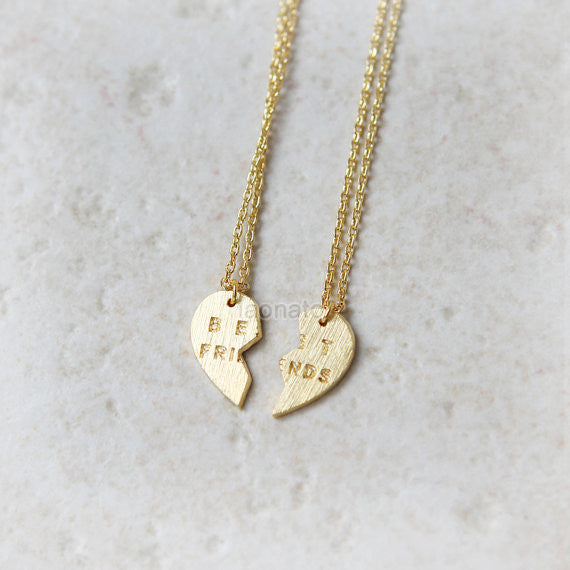 Split Heart Best Friends Necklaces, Set of 2 necklaces
