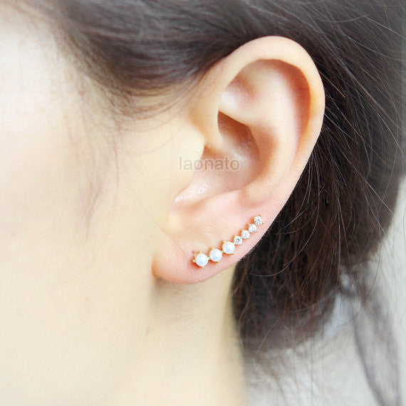 Pearl and CZ ear climber