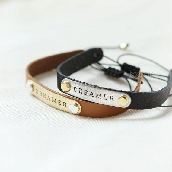 Dreamer Tag Leather Bracelet