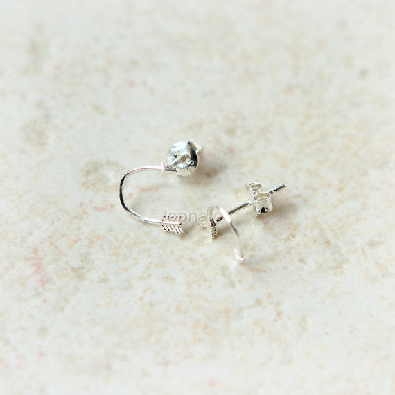 Curved arrow earrings in sterling silver