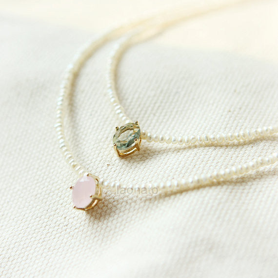 Faceted Bead and tiny Pearls Necklace