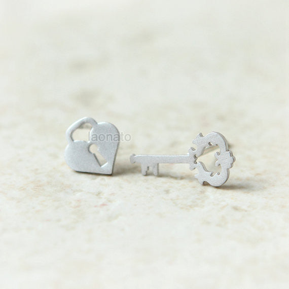 Key and Heart Lock Earrings