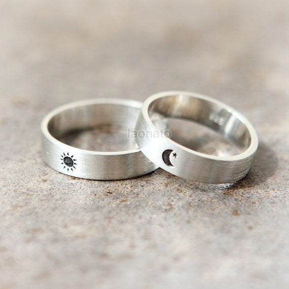 Sun and Moon Ring in sterling silver, Couple Rings - Custom Personalized Initial Ring